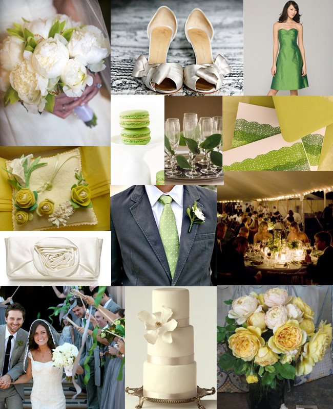 green wedding party