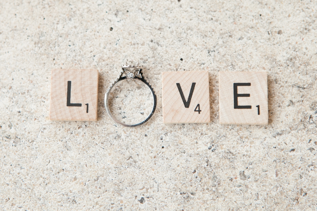 Engagement ring with scrabble pieces