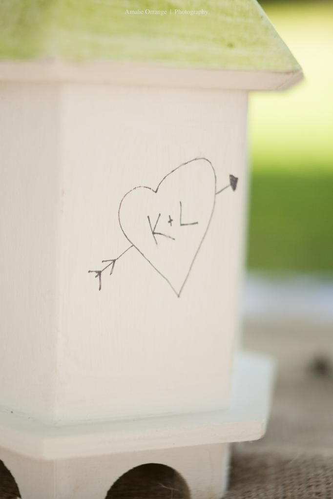 wedding birdhouse initials engraved