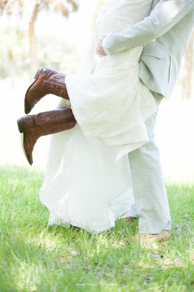 bride with cowboy boots