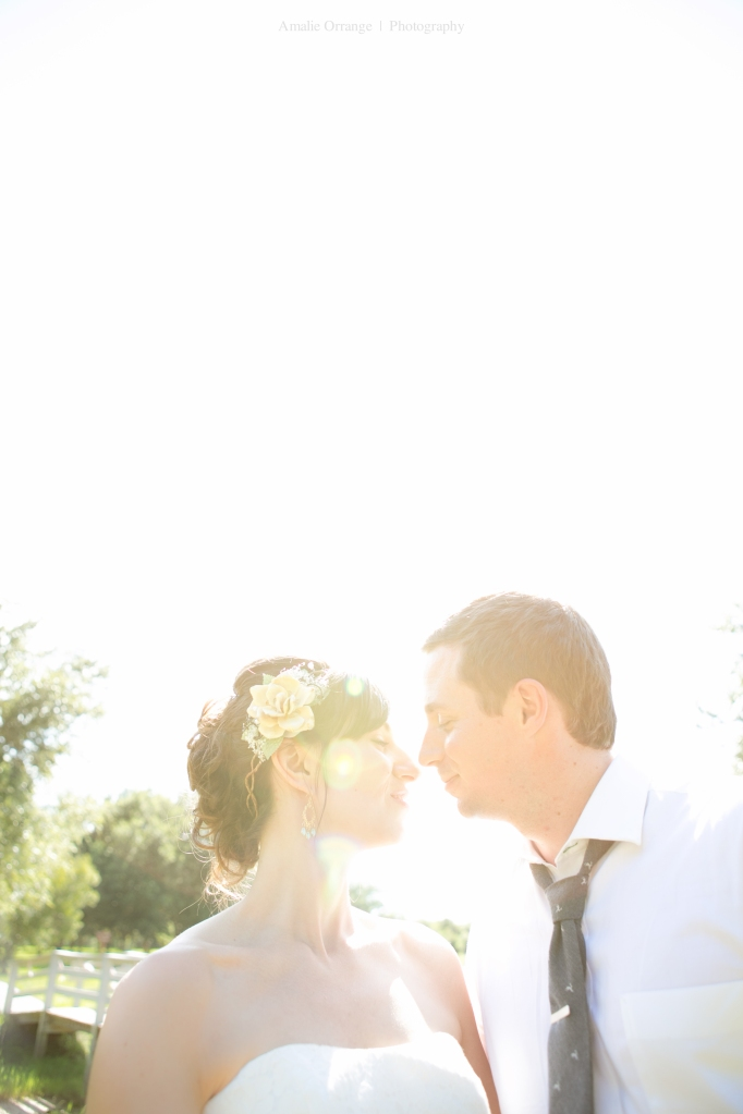 bride and groom kissing with sun flare