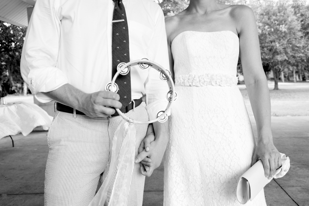 bride and groom with tambourine