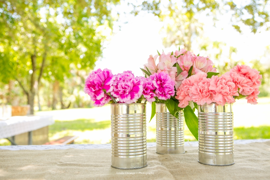 wedding cans of flowers