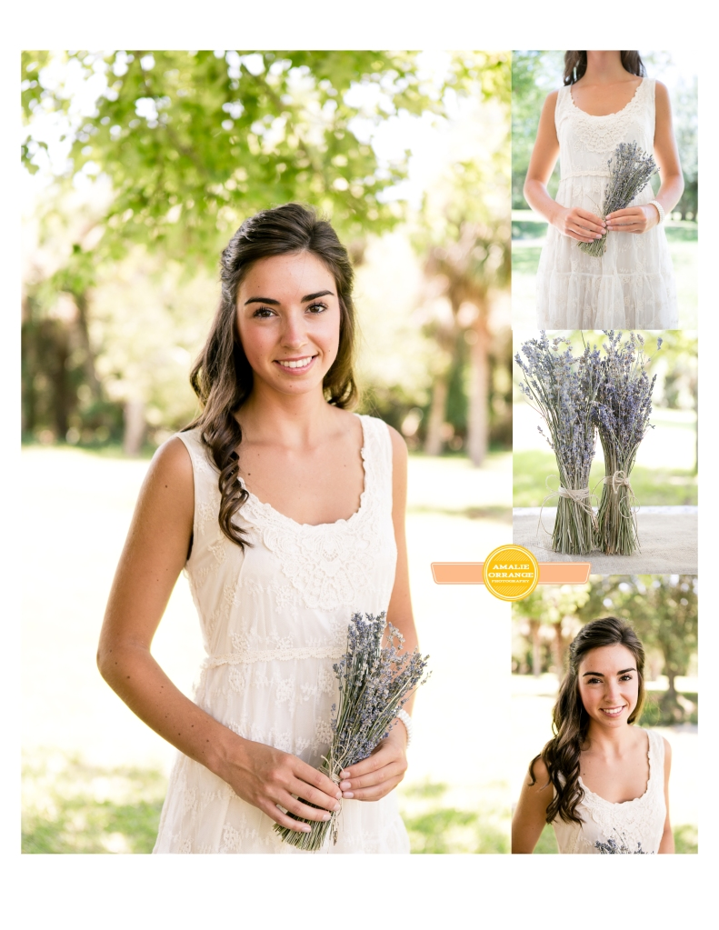 Bridesmaid holding lavender bouquet wedding