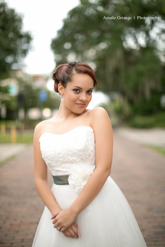 Bride in street smiling