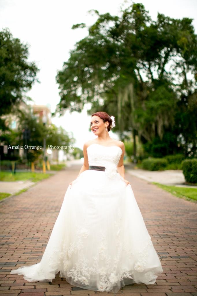 Bride running in Winter park  Florida