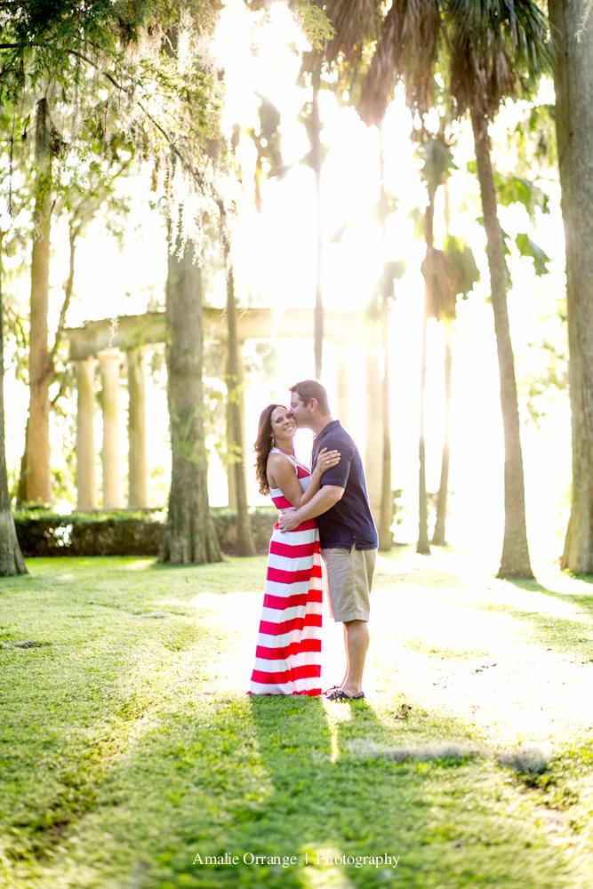 engagement session at Kraft Azalea  Garden florida sunflare