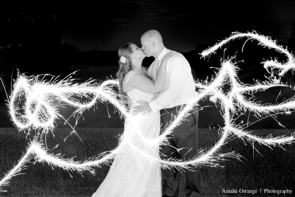 wedding photographer sparklers with bride and groom