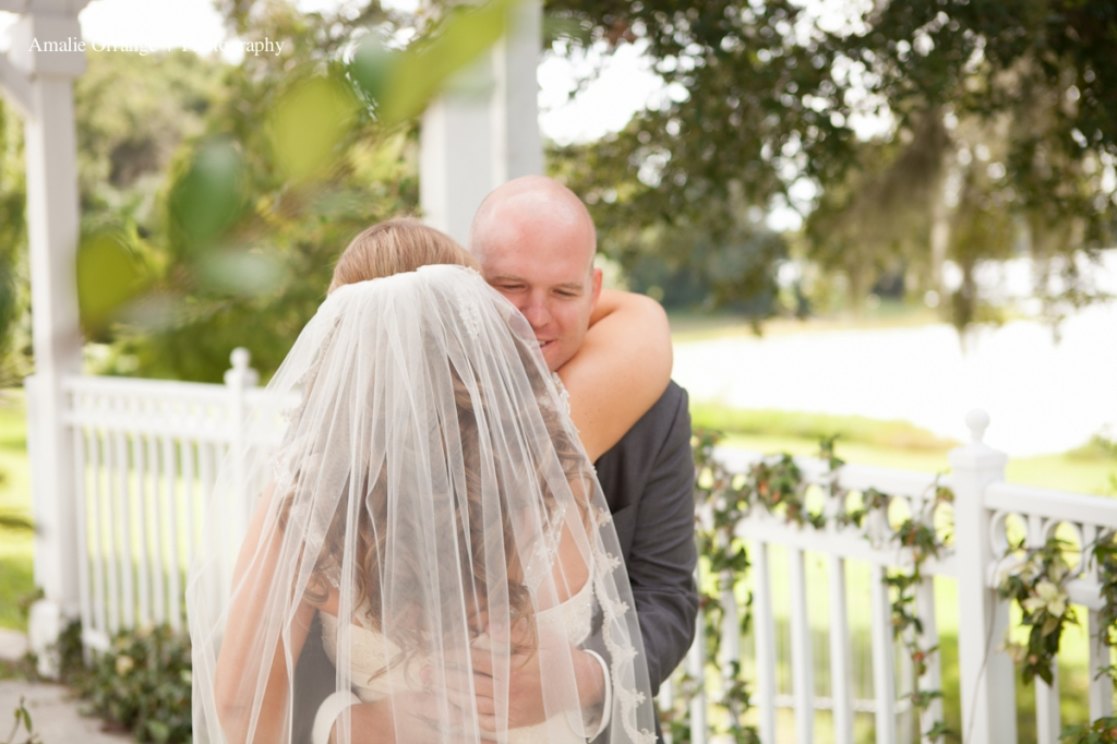 Bride and grooms first look   Lake mary events center
