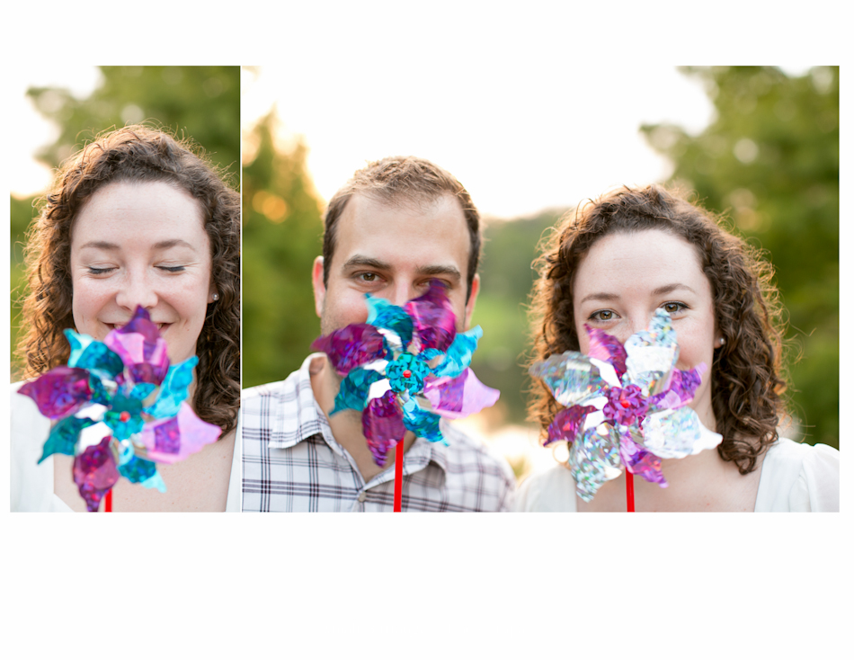 man and woman blowing pinwheels