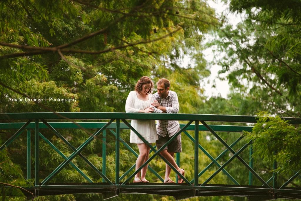 man and woman on a bridge