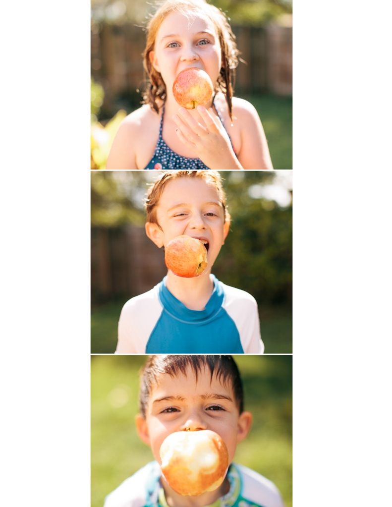 Kids bobbing for apples
