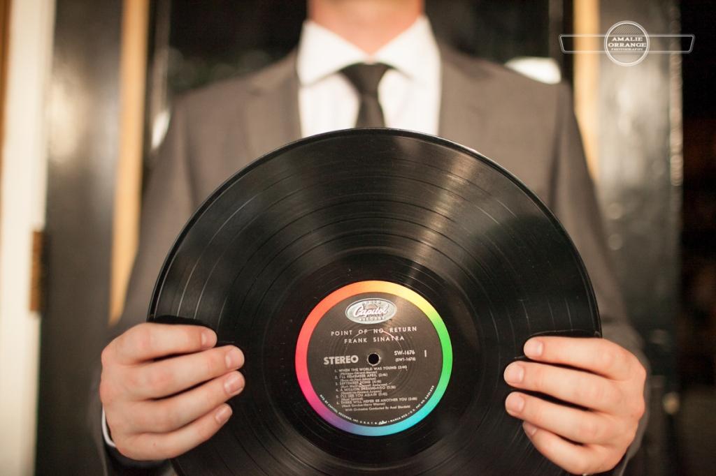 Man holding Frank Sinatra Record