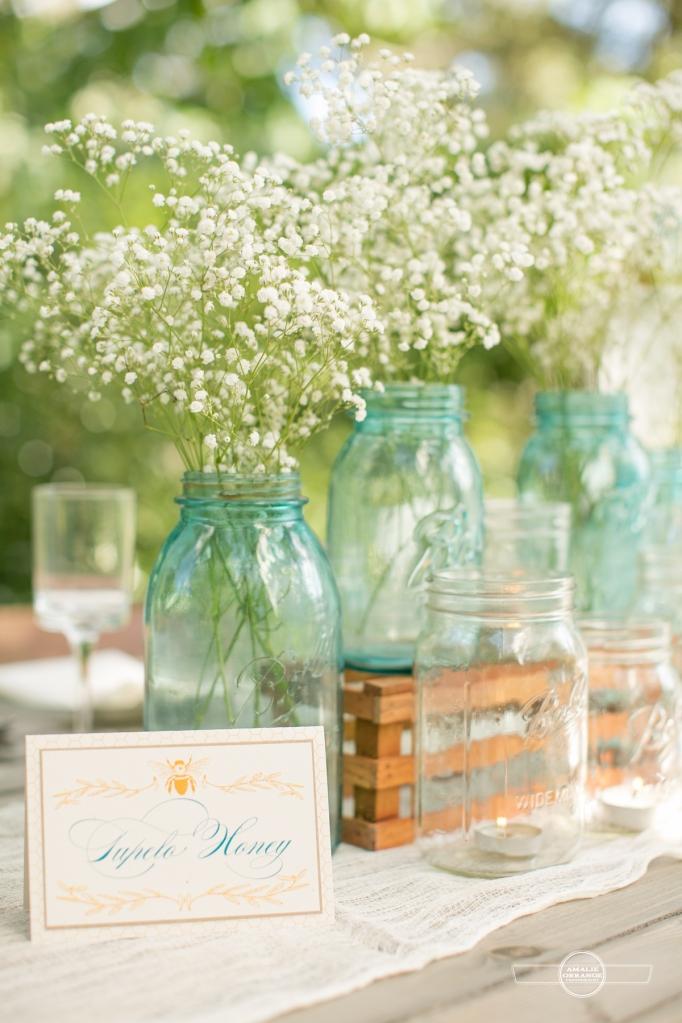 Blue mason jars vintage farm table