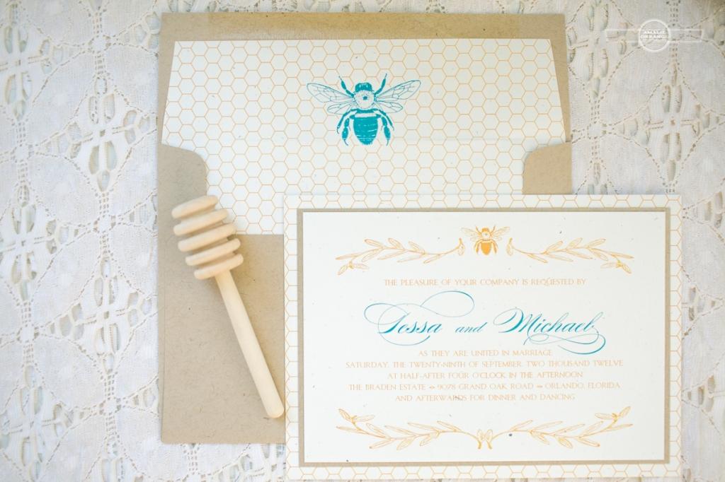 Bee  and honey wedding invitation
