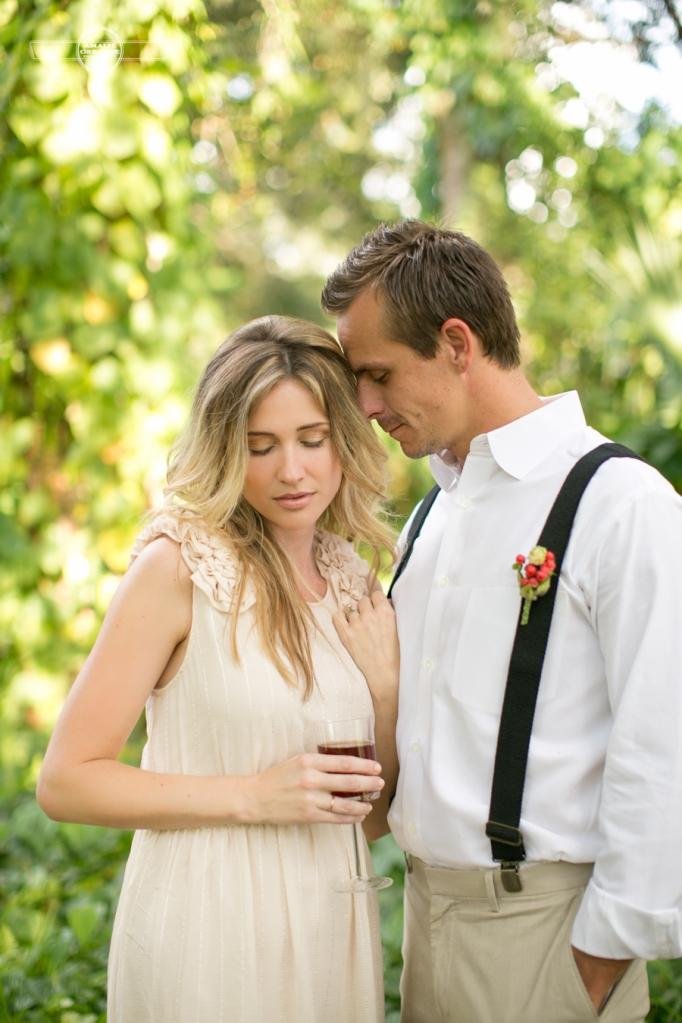 Bride and groom drinking sweet tea