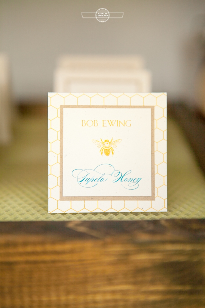 bee and honey wedding table place card