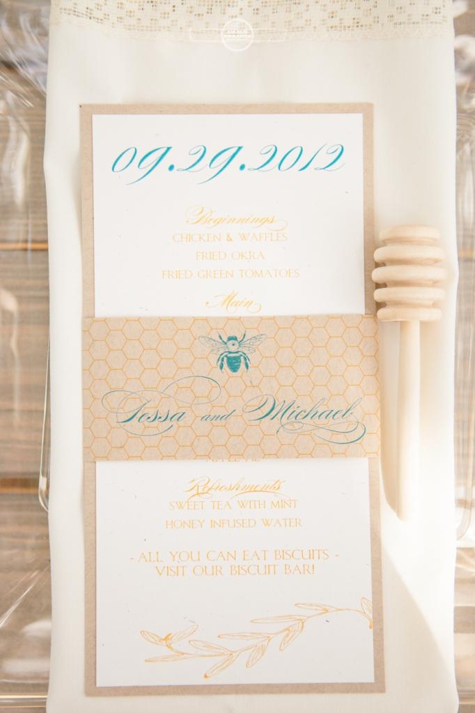 honey and bee wedding menu