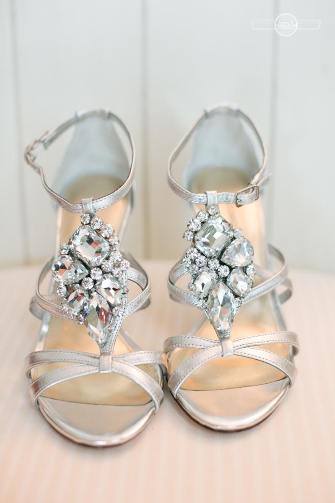 Florida beach wedding  brides diamond shoes