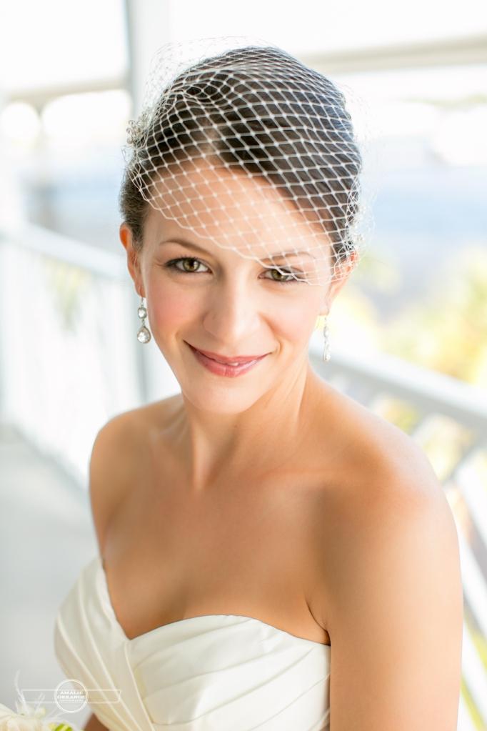 Florida beach wedding  bride with bird cage veil