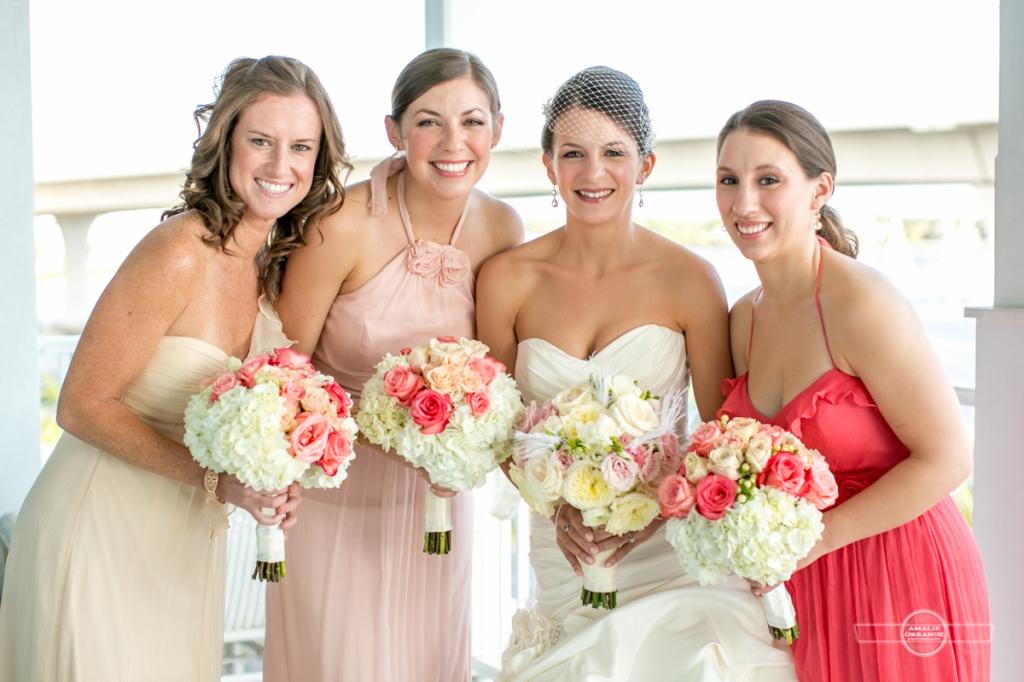 Florida beach wedding bridal party blush pink