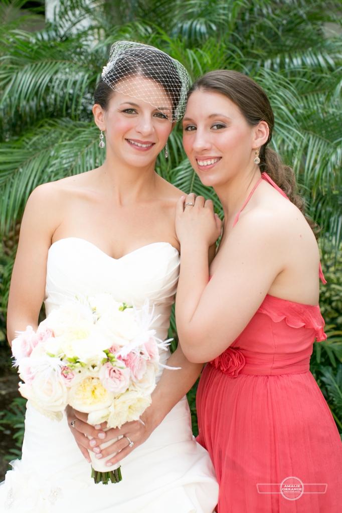 Florida beach wedding  bride and bridesmaid pink