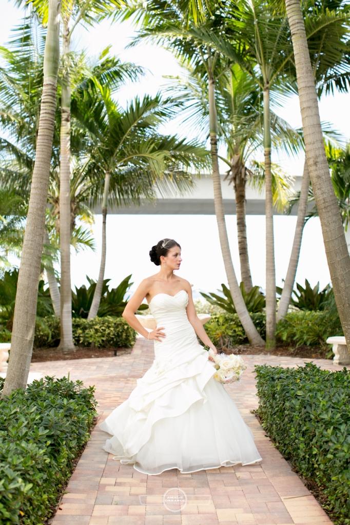 Florida beach wedding  bride with palm trees