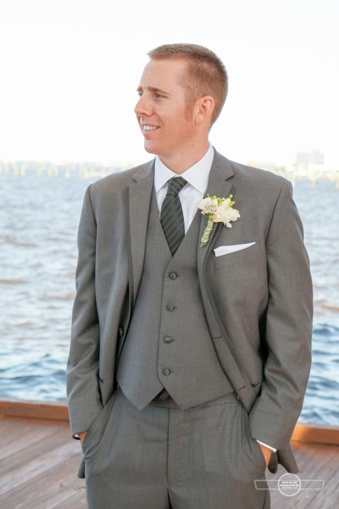 Florida beach wedding  groom
