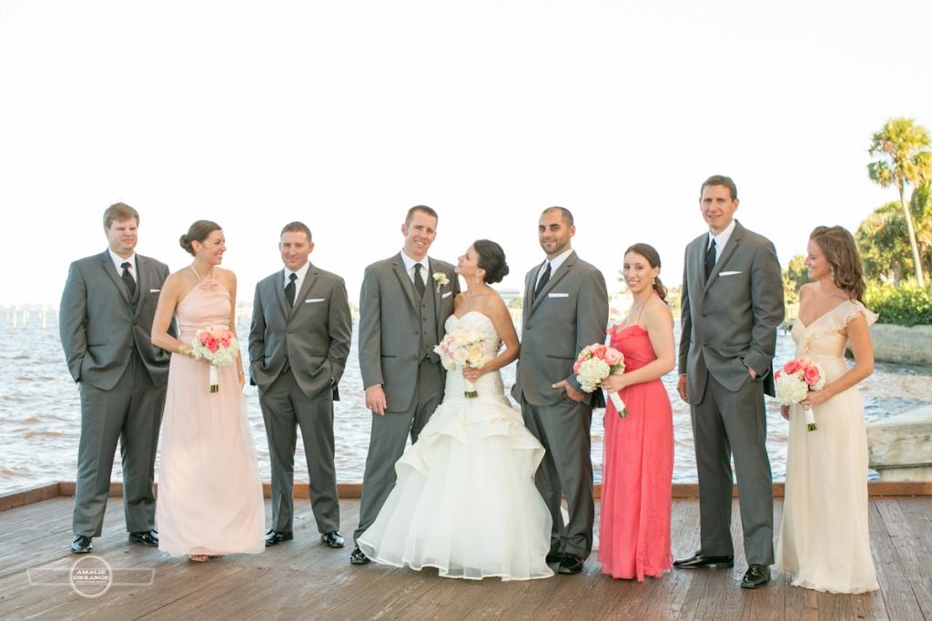 beach wedding bridal party