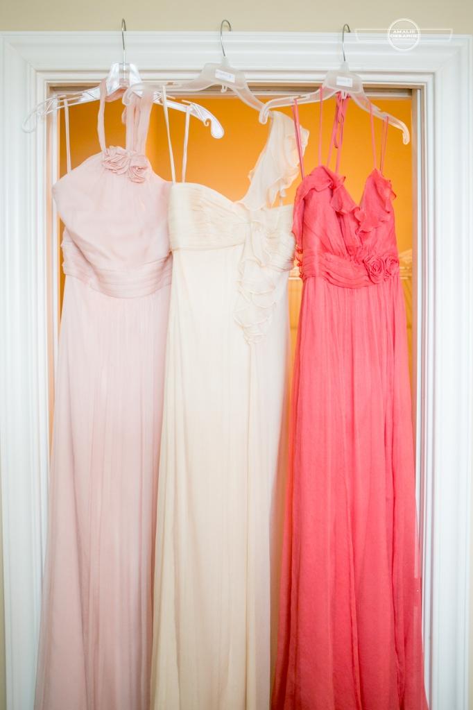 Florida beach wedding  pink blush coral bridesmaids dresses