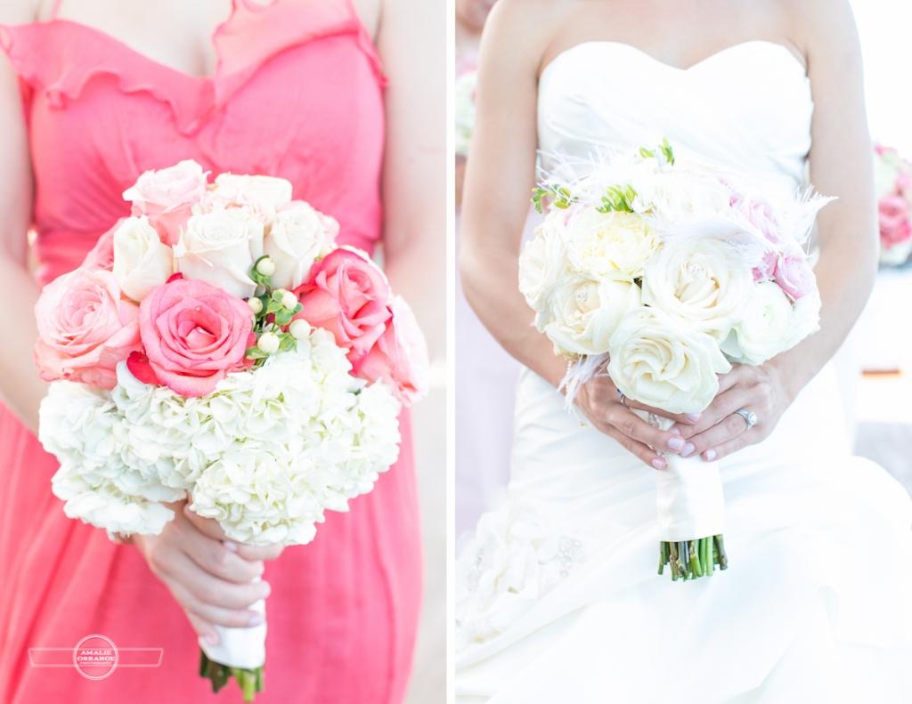 Florida beach wedding pink peonies bridal bouquet