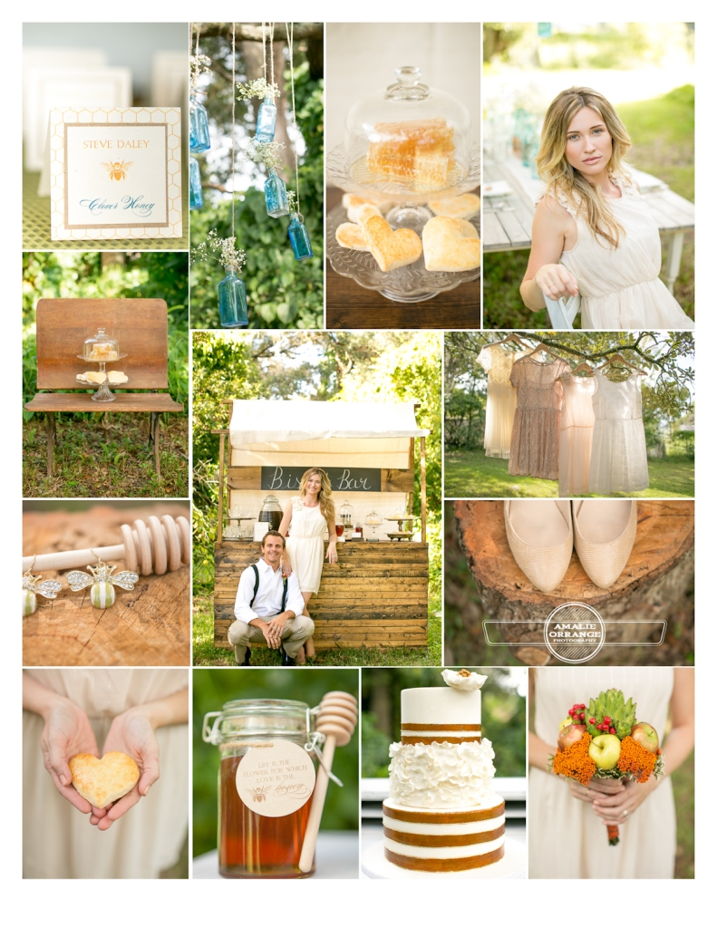 collage board of honey inspired wedding shoot