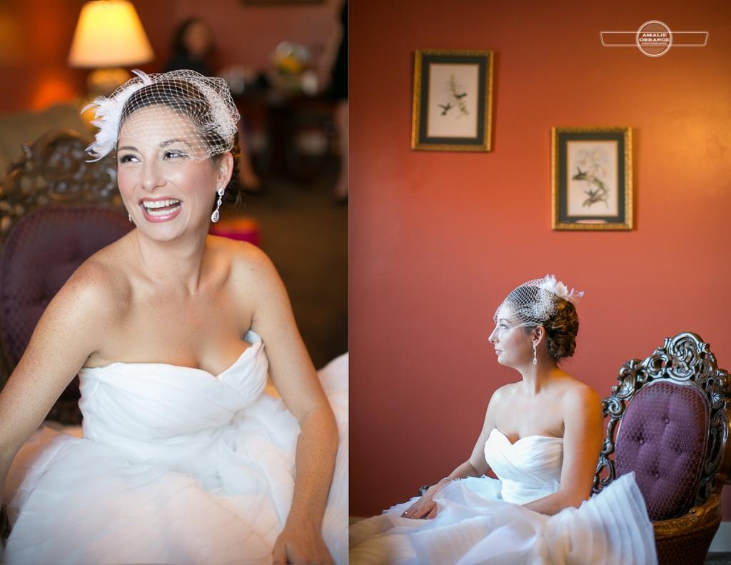 bride in chair birdcage veil