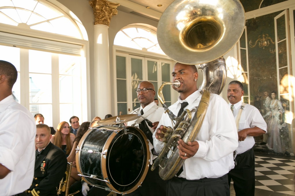 brass band at wedding new orleans the galvez