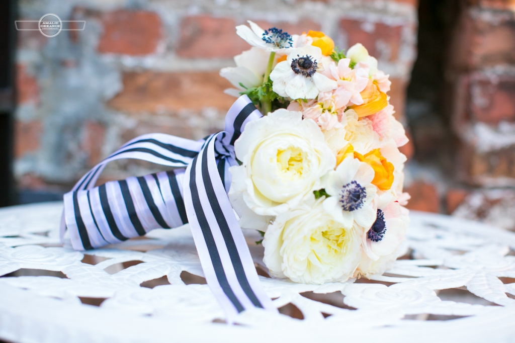 bouquet with peonies enemies and striped ribbon