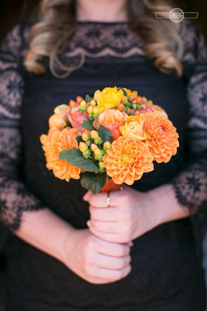 bridesmaids orange bouquet