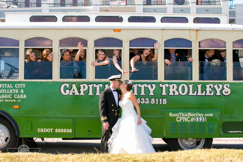 new orleans wedding party in trolley