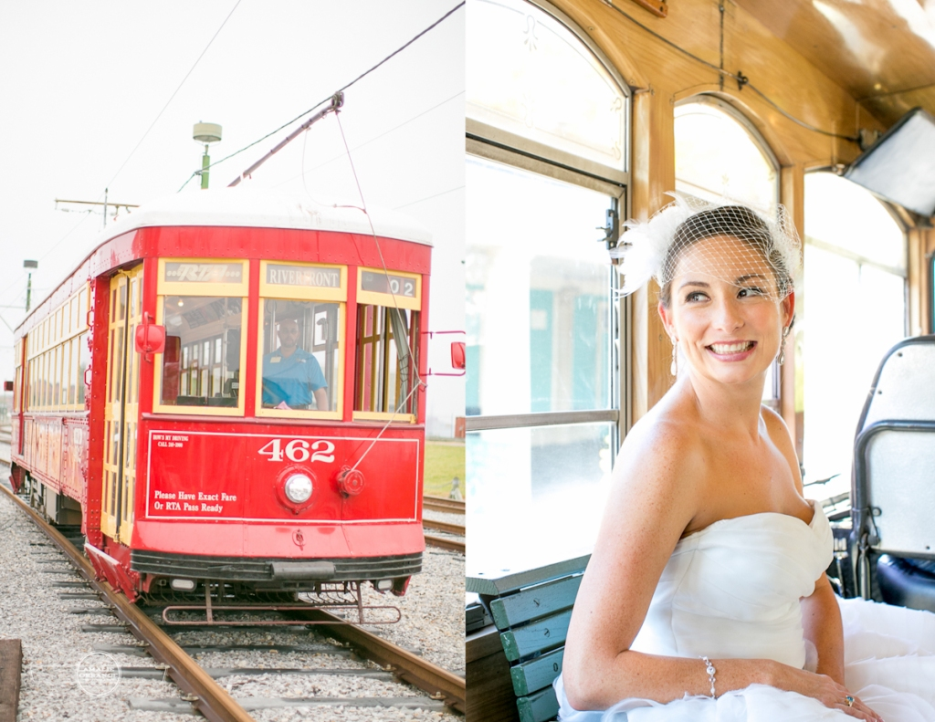 bride on trolley in new orleans