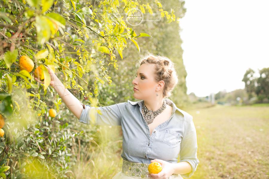 girl picking lemons