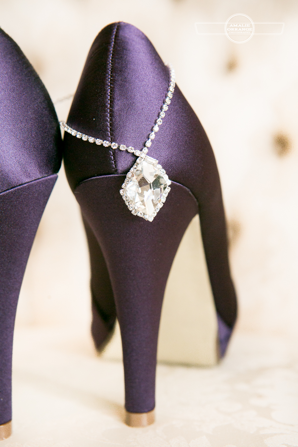Purple shoes with diamonds