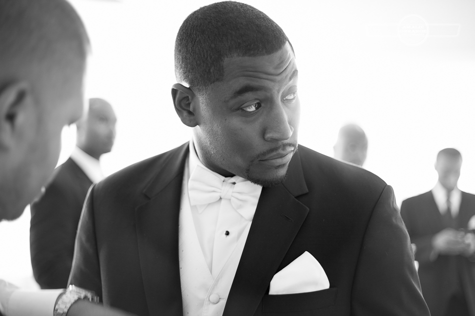 African American Groom with bow tie
