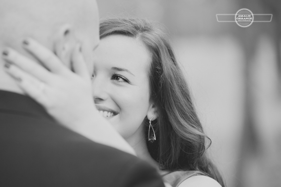 Enagement image of bride and groom, black and white