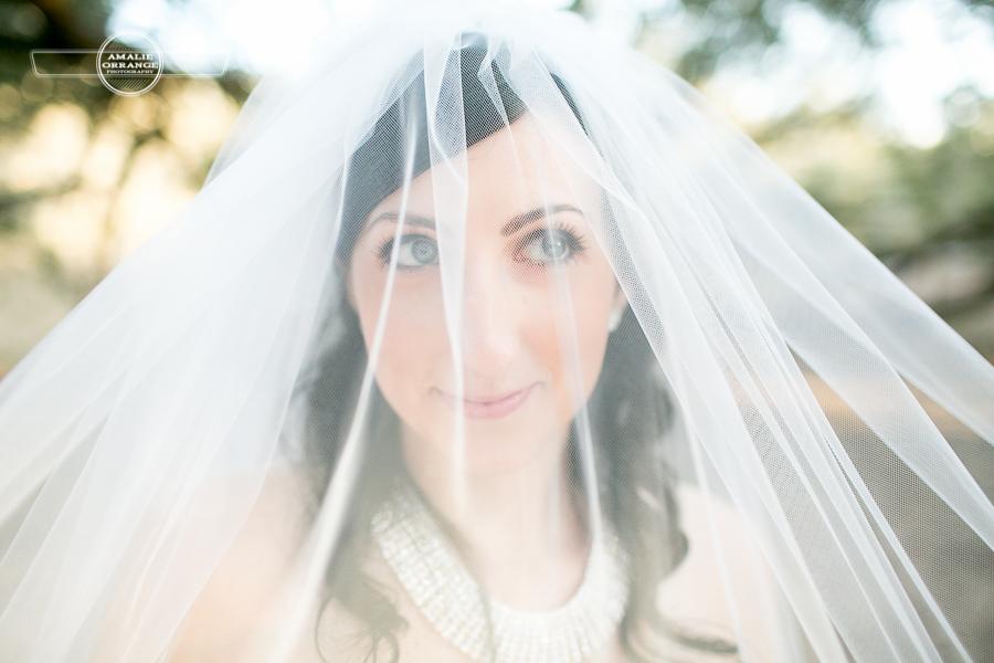 bride looking through veil