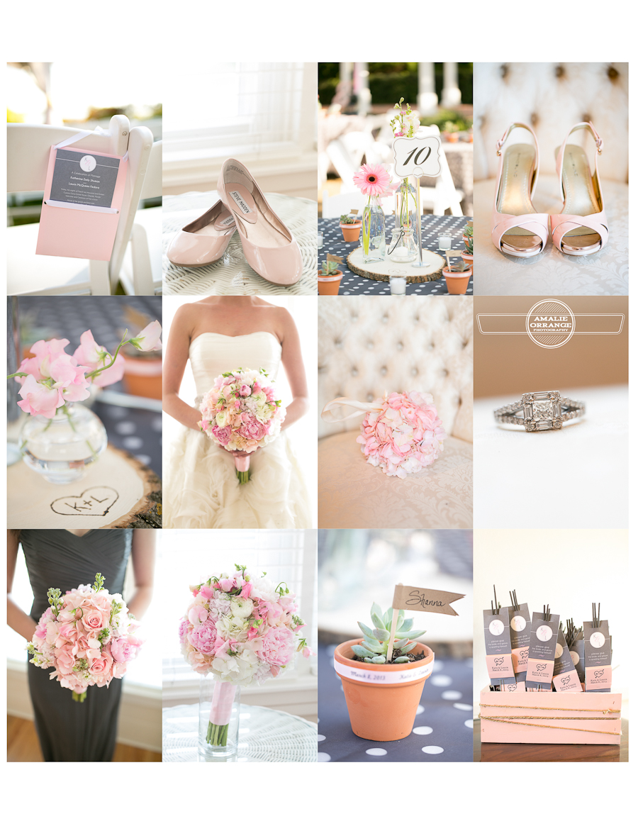 Blush and gray wedding details