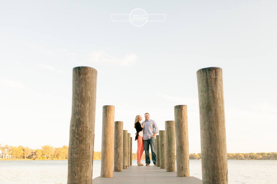Engagement on a dock in Winter Park