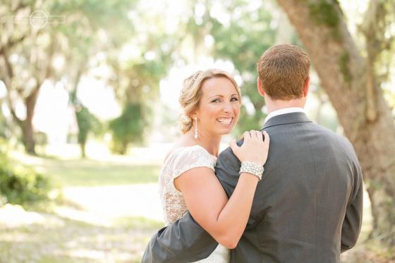 Bride looking over grooms shoulder orlando