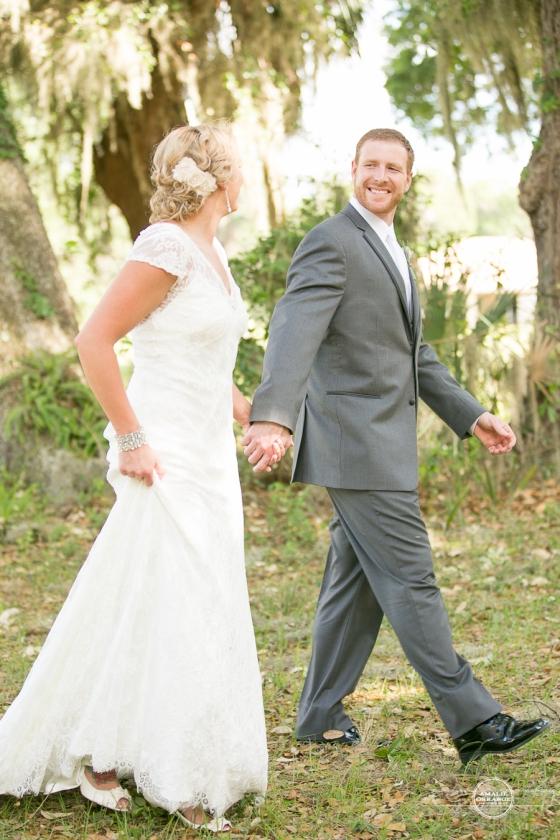 Bride and groom walking orlando